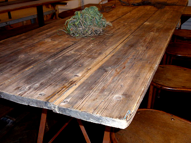 Metal Base Dining Table With Plank Wood Home Europe2you 1