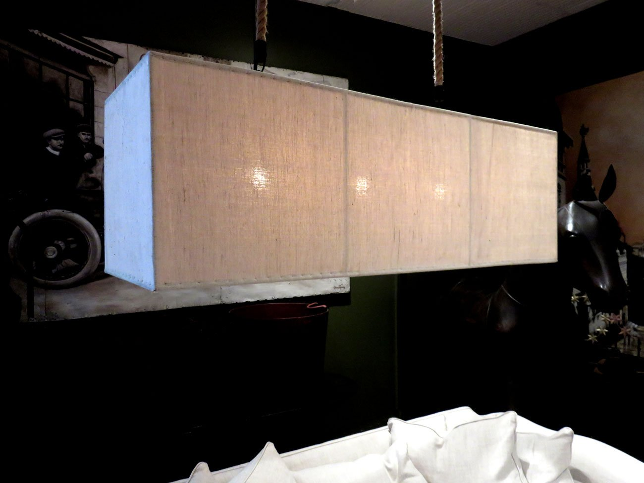 large linen box chandelier