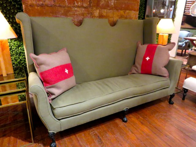 Vintage Army Green Sofa
