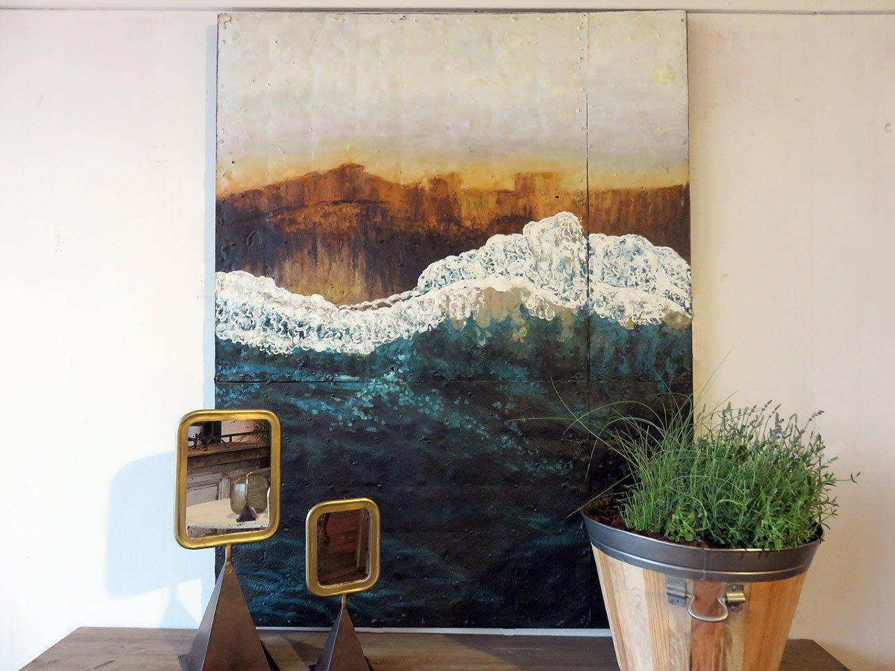 big wave wall painting