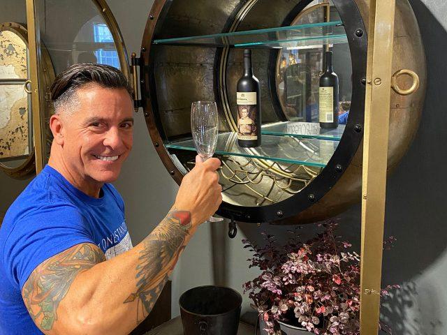 Round Metal Wine Cabinet