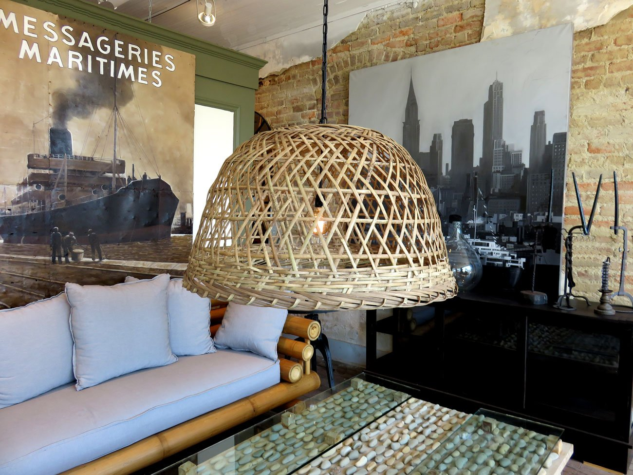 wicker basket chandelier