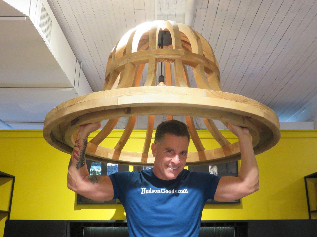 wood frame bell chandelier