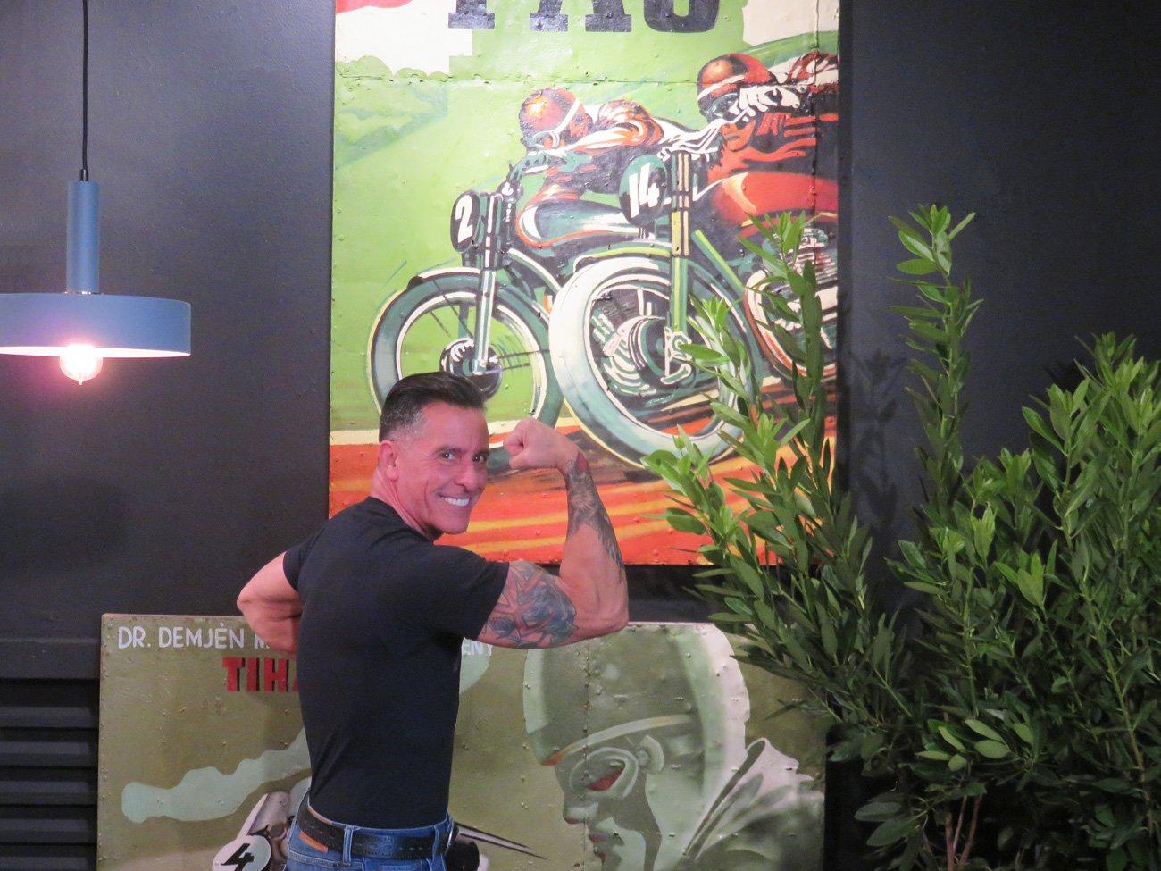 vintage motorbike oil paintings