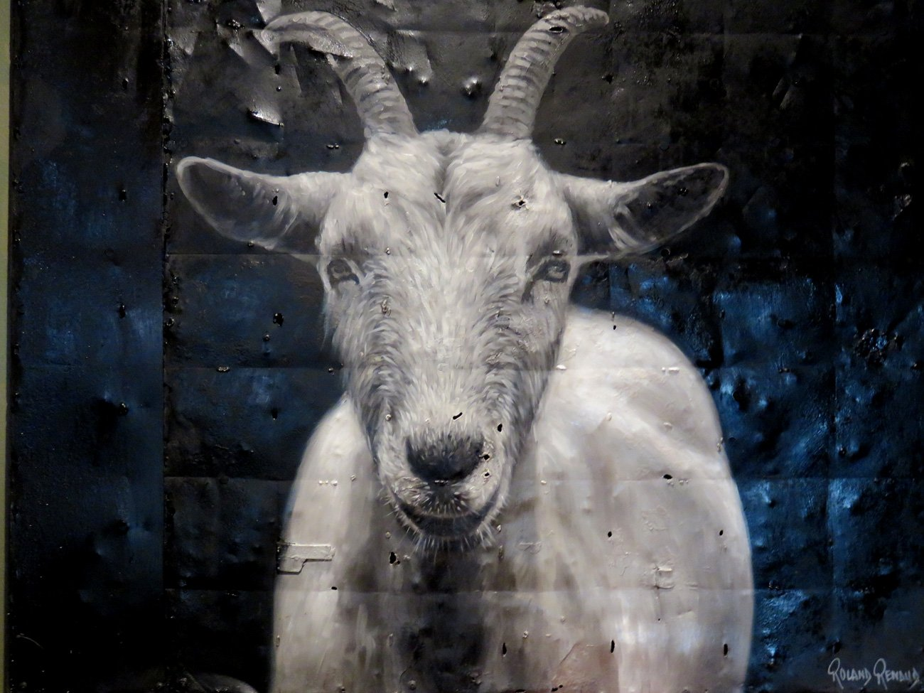 vintage goat oil painting