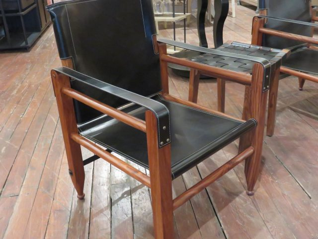 Black Leather Strap Chair