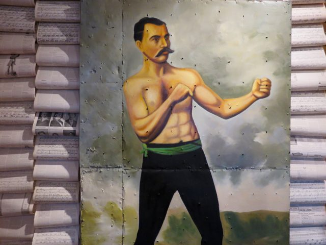 Vintage Boxing Oil Painting