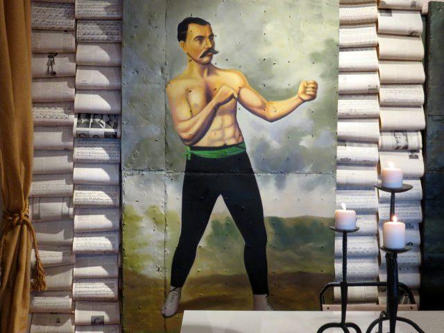 Vintage Boxer Oil Painting