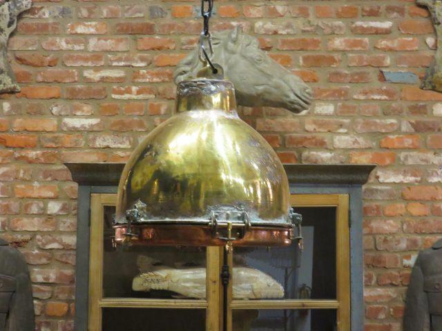 Vintage Industrial Brass Pendant
