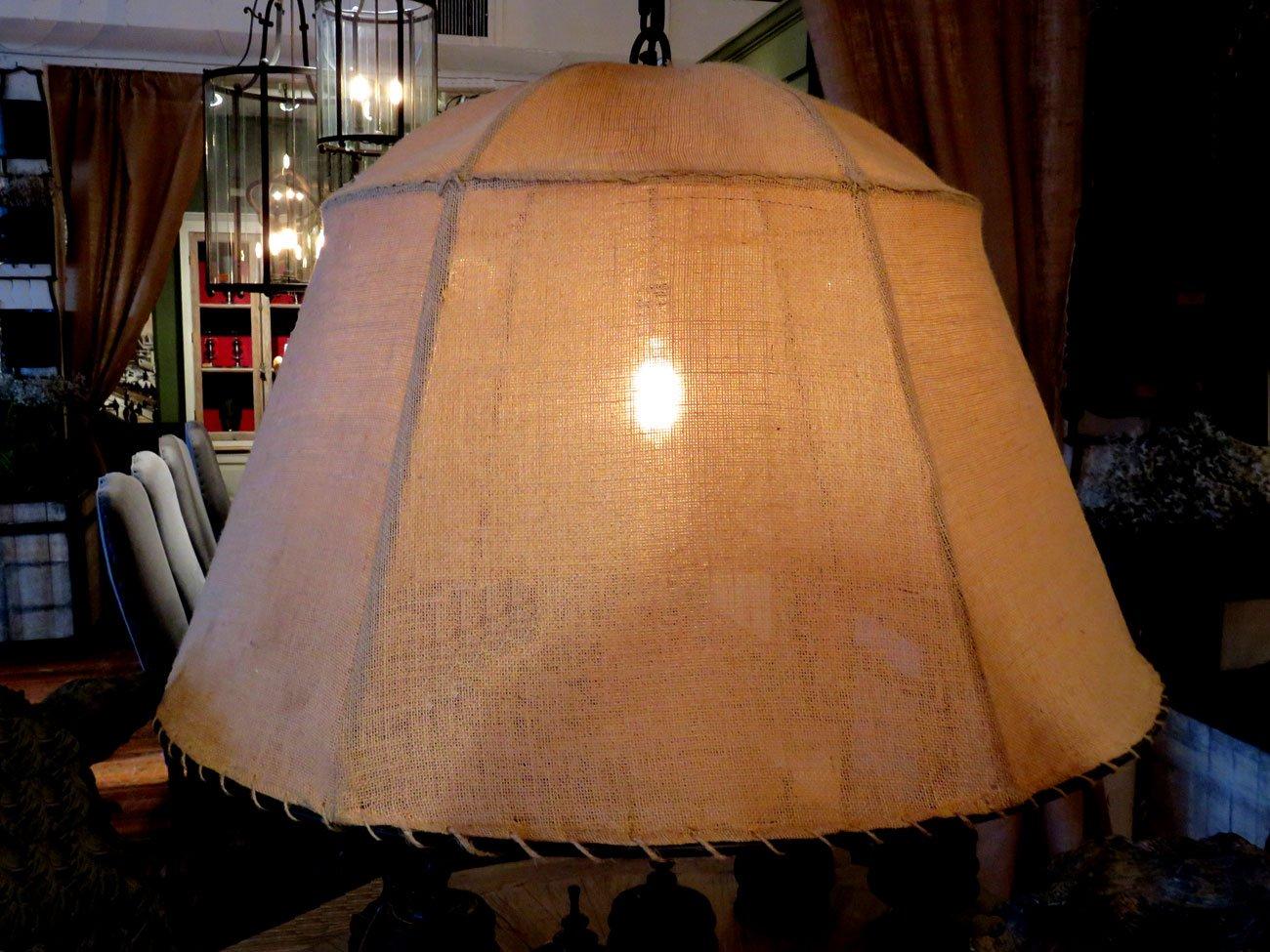 vintage burlap shade chandelier