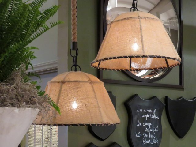 Burlap Shade Pendant Lights
