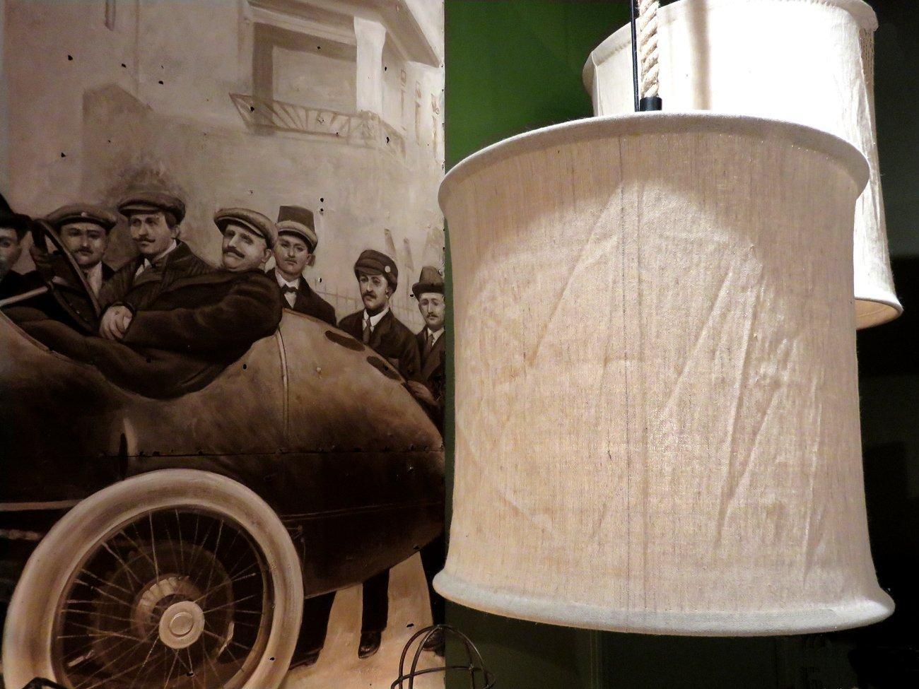natural canvas round chandelier