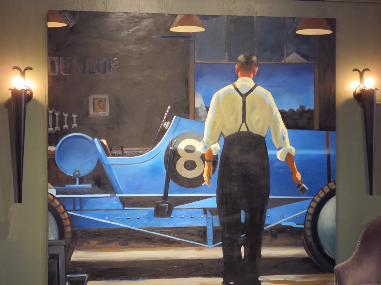 large vintage race car painting