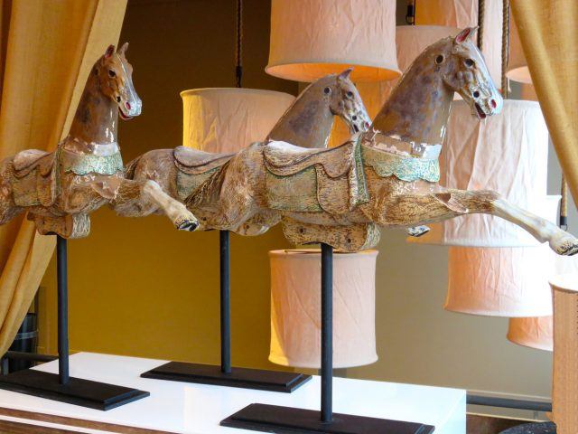 Vintage Wood Horse Sculptures