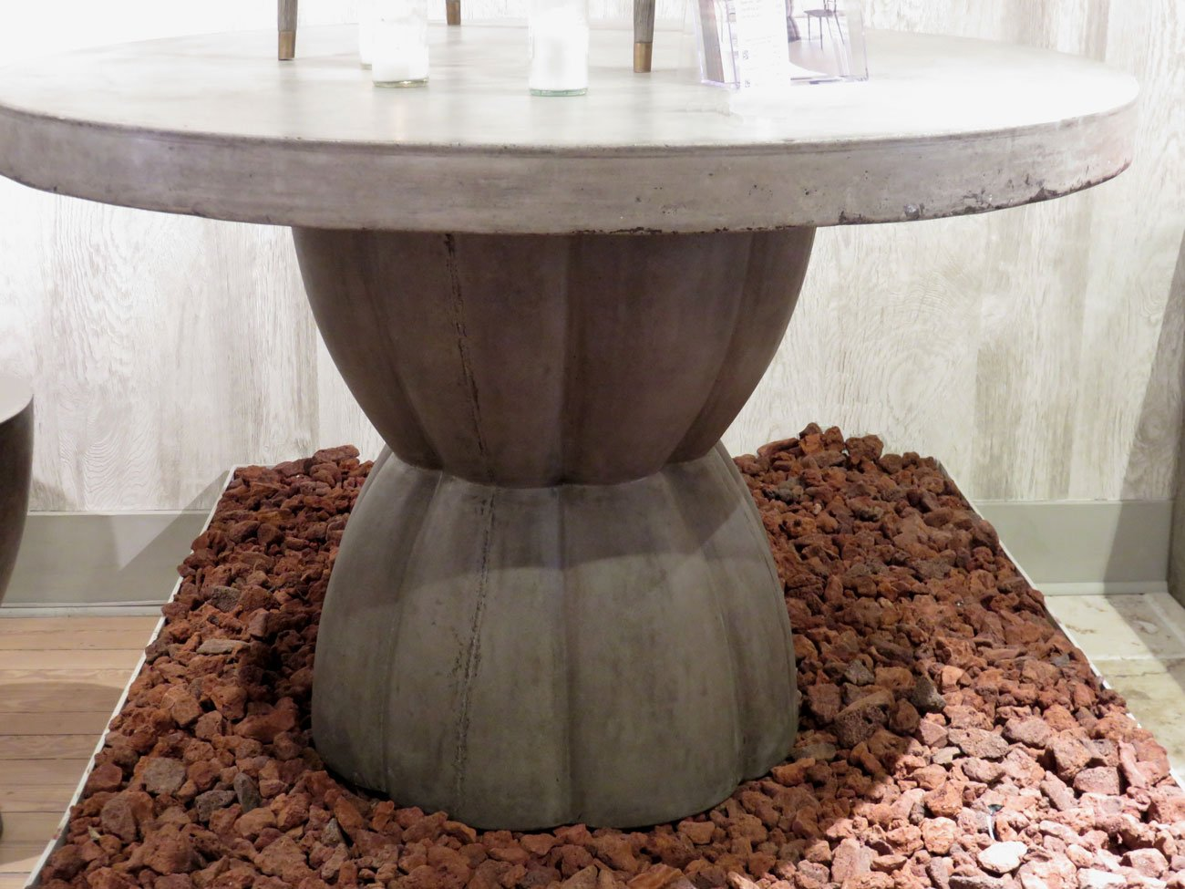 concrete pedestal dining table
