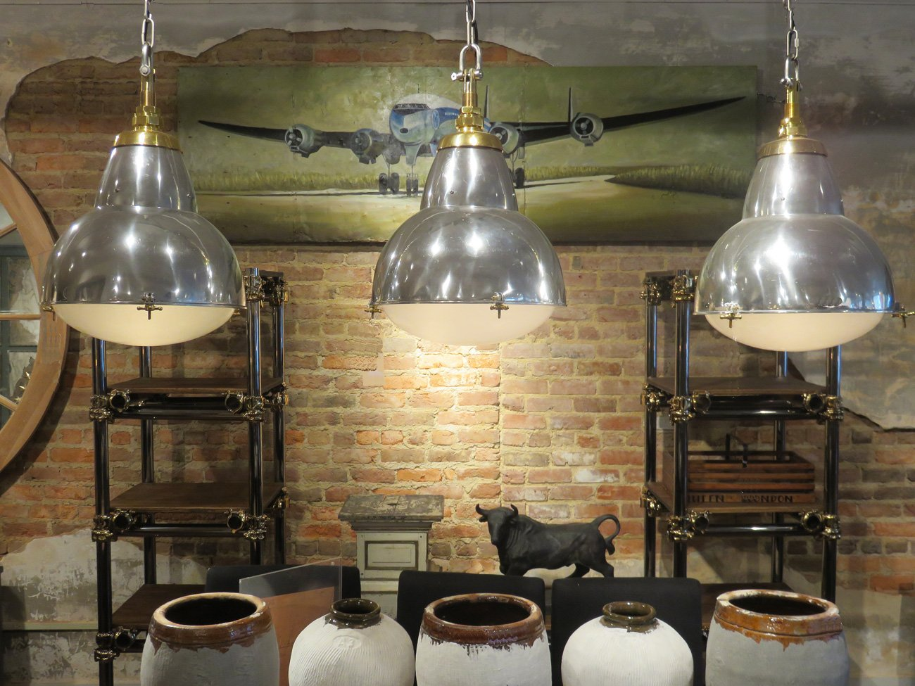 large vintage industrial pendants