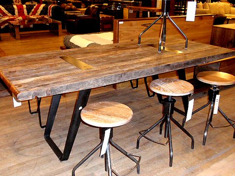 Reclaimed demolition wood table and industrial stools. Reclaimed Wood Table and Industrial Stools   Hudson Goods Blog
