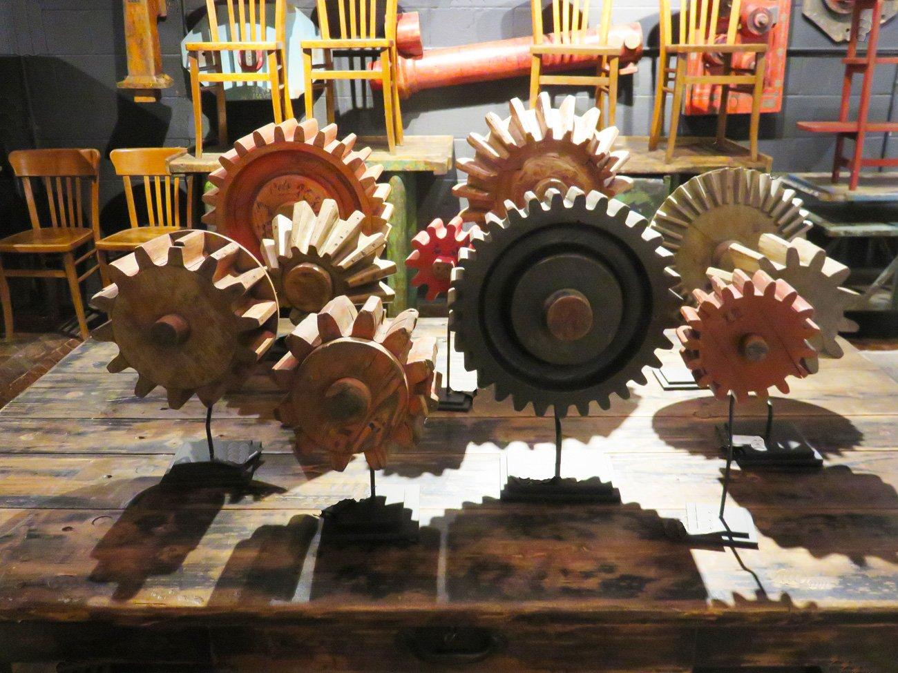 vintage industrial wood gears