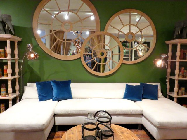 Round Windowpane Wall Mirrors
