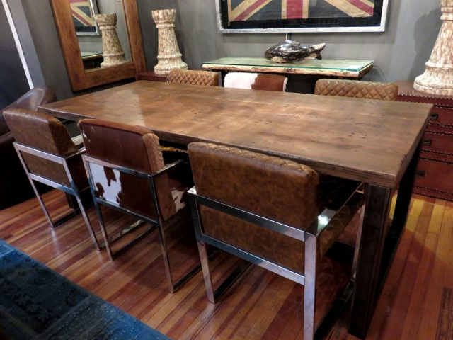 Oak and Iron Dining Table