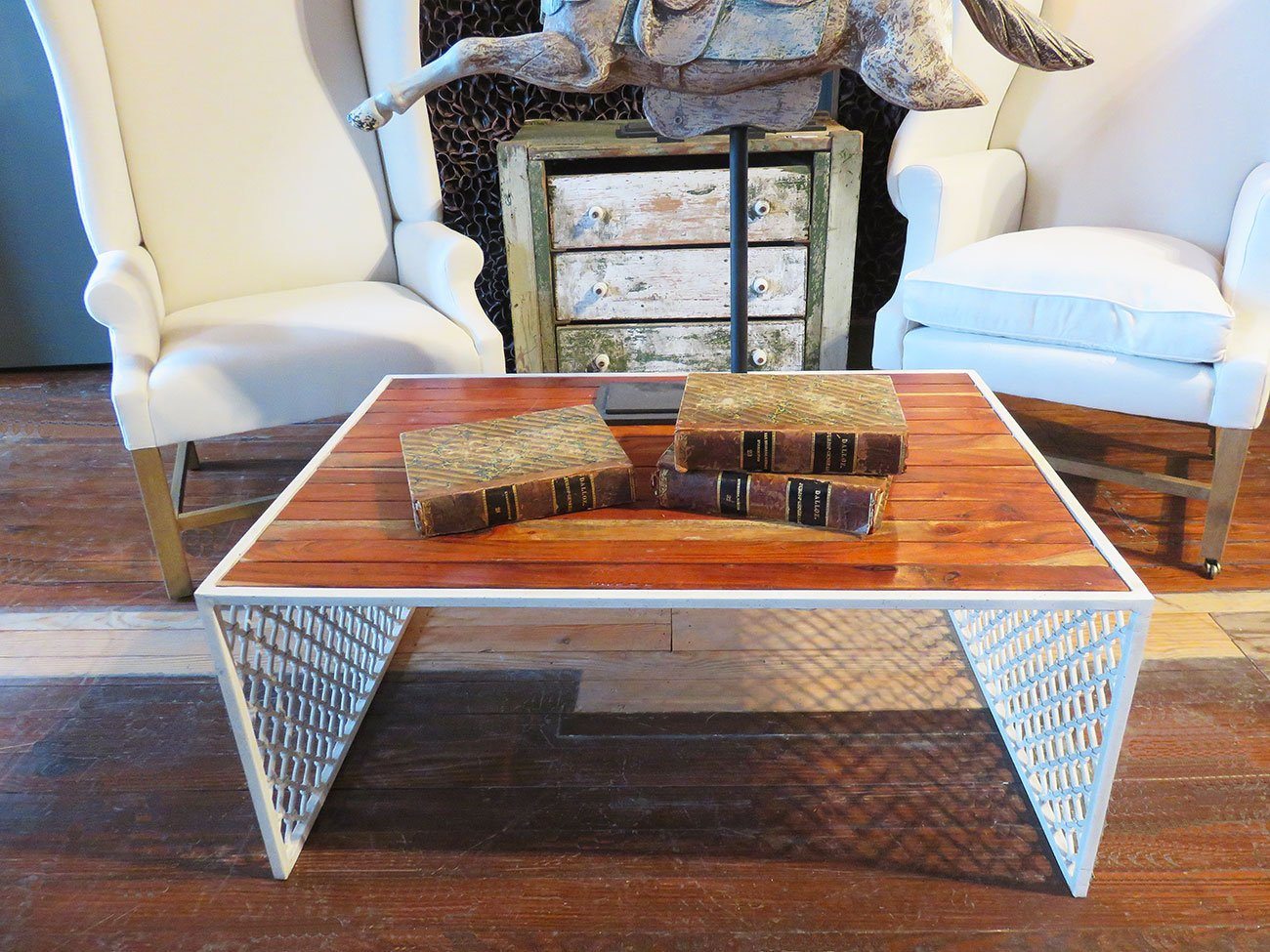 metal lattice coffee table