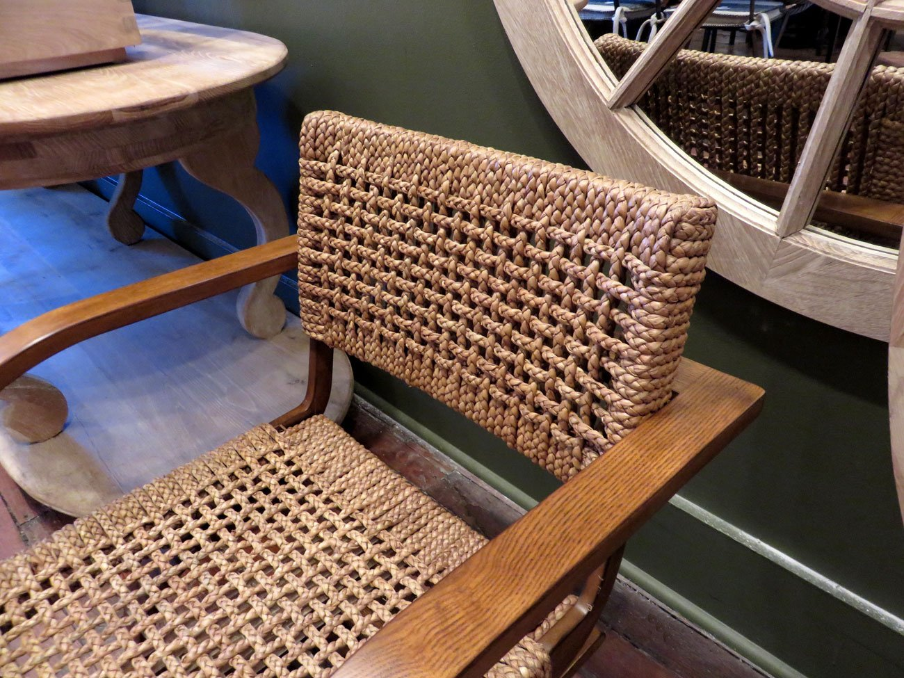 Elegant Made With Woven Jute Mid Century Arm Chair