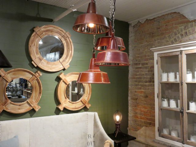 Brown Leather Cone Pendant Lights