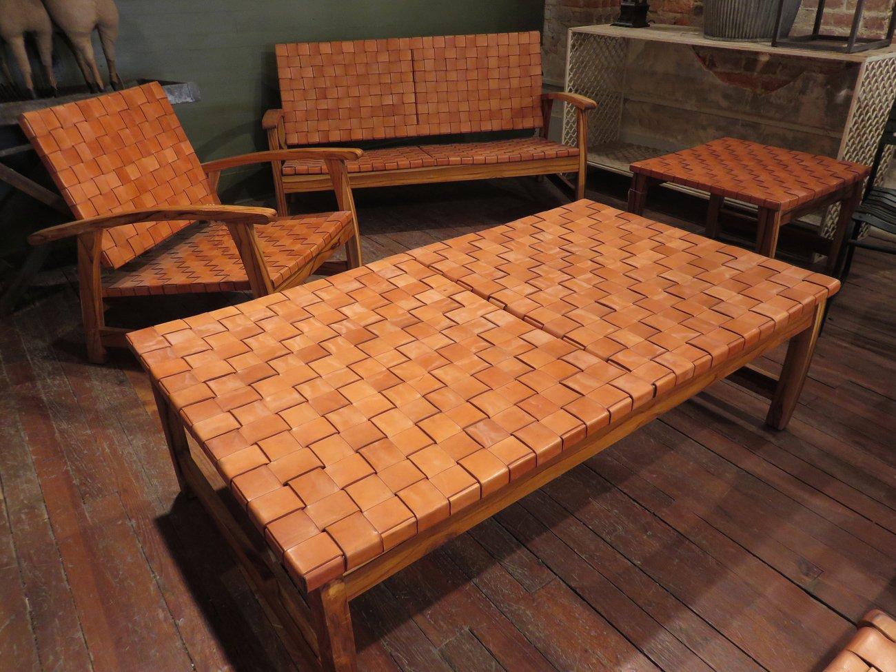 leather strap teak furniture