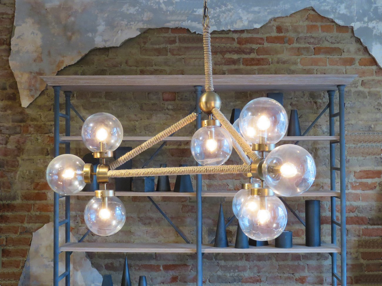 rope glass globe chandelier