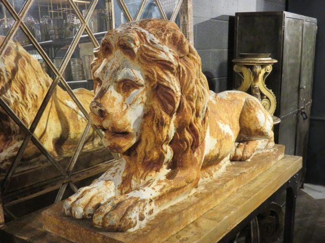 Vintage Stone Lion Sculpture