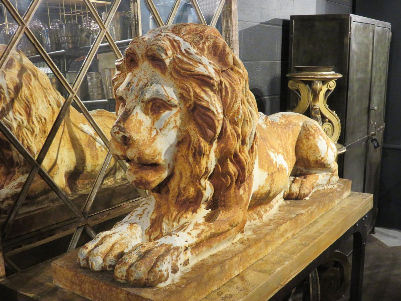 vintage stone lion sculpture