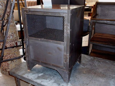 Industrial Metal Locker End Table