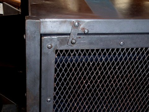 Industrial Metal Locker End Table. With Wire Mesh Door. Metal Latch