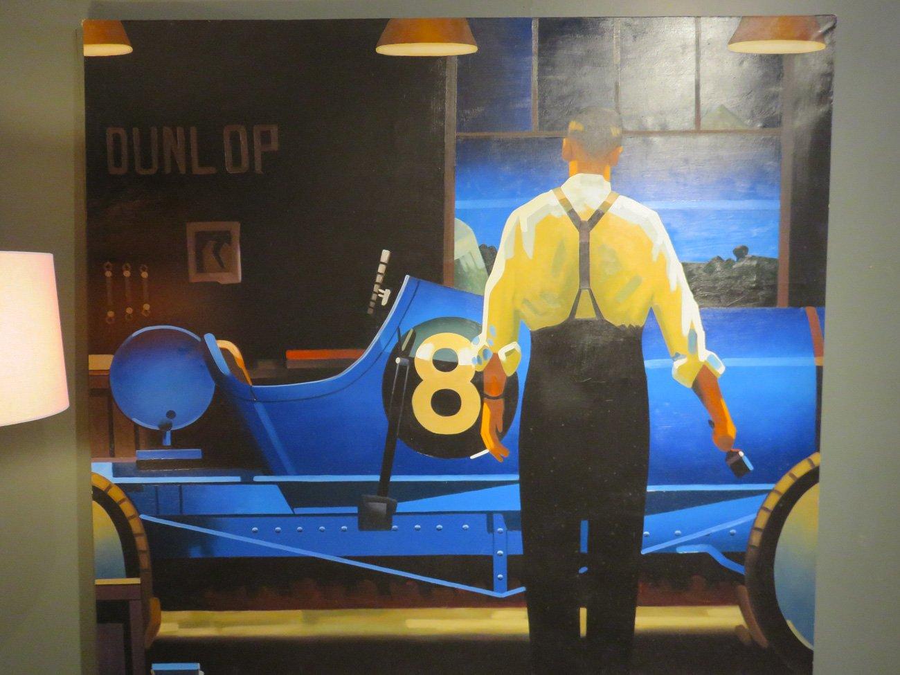 vintage car oil painting