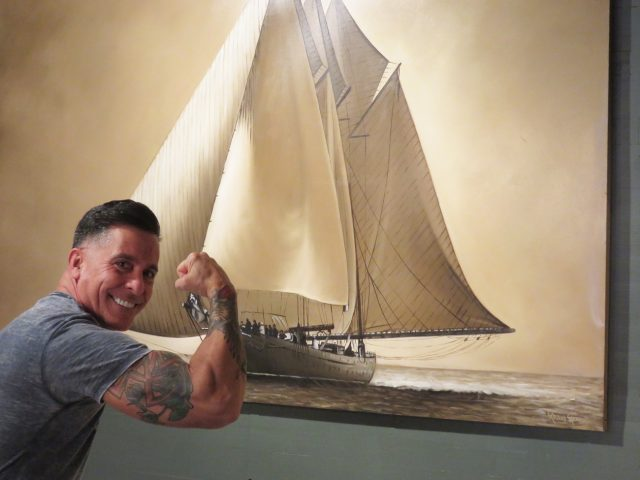 Large Vintage Sailboat Painting