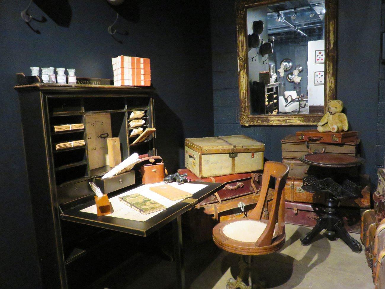 vintage black wood desk