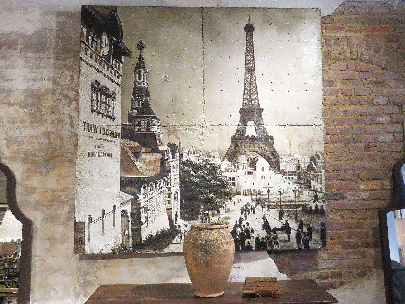 vintage Paris wall painting