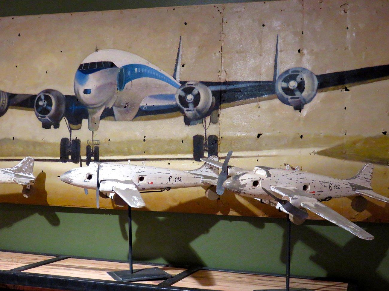 Vintage Jet Plane Oil Painting