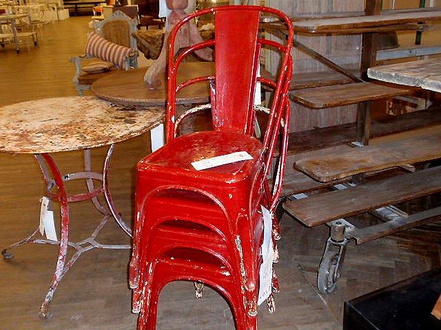 Vintage Painted Red Metal Chairs