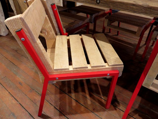 Wood Red Metal Frame Chairs