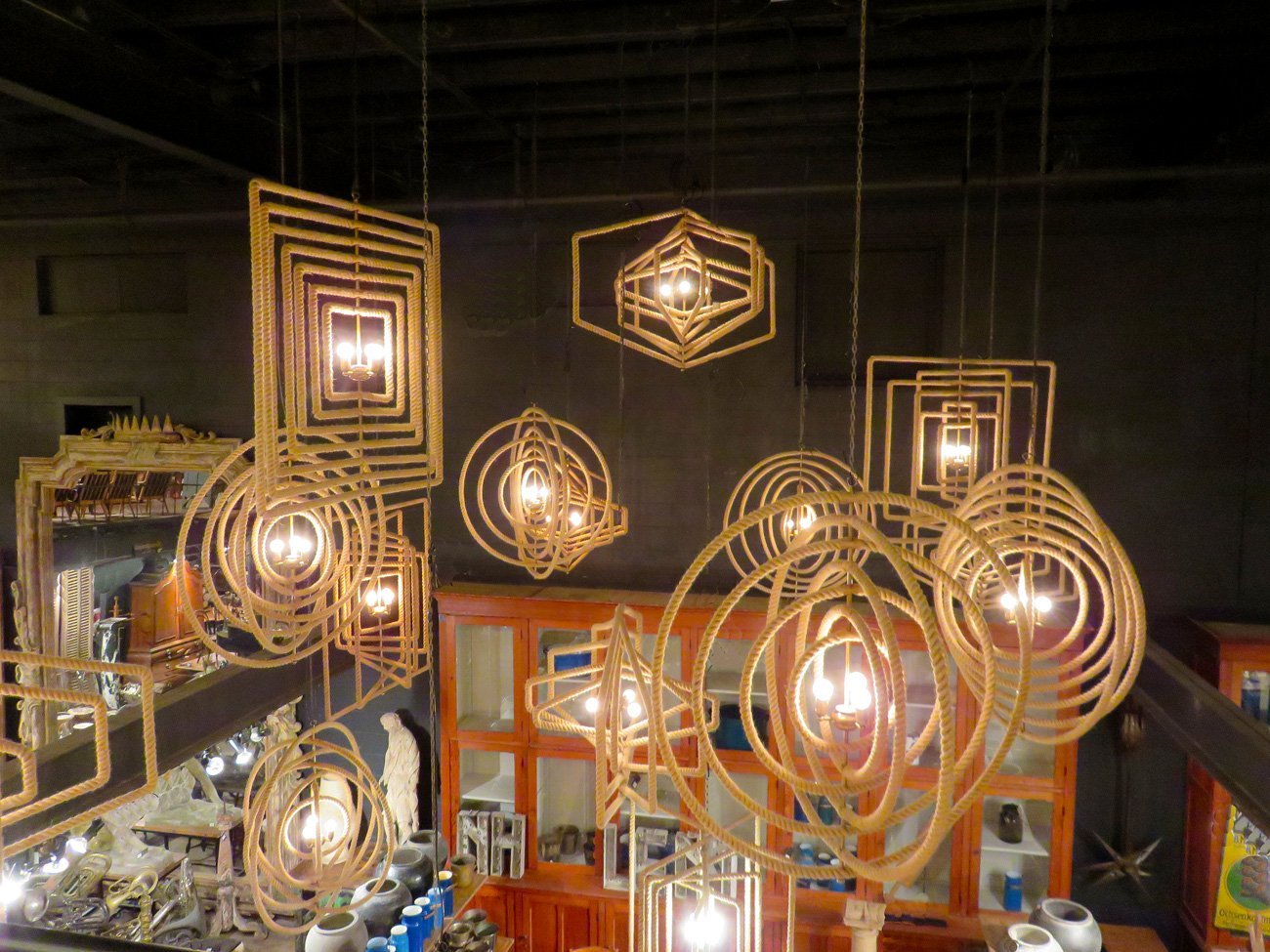 industrial rope chandeliers