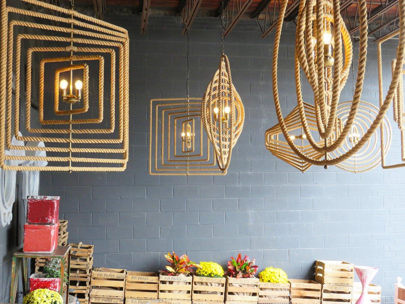 large jute rope chandeliers