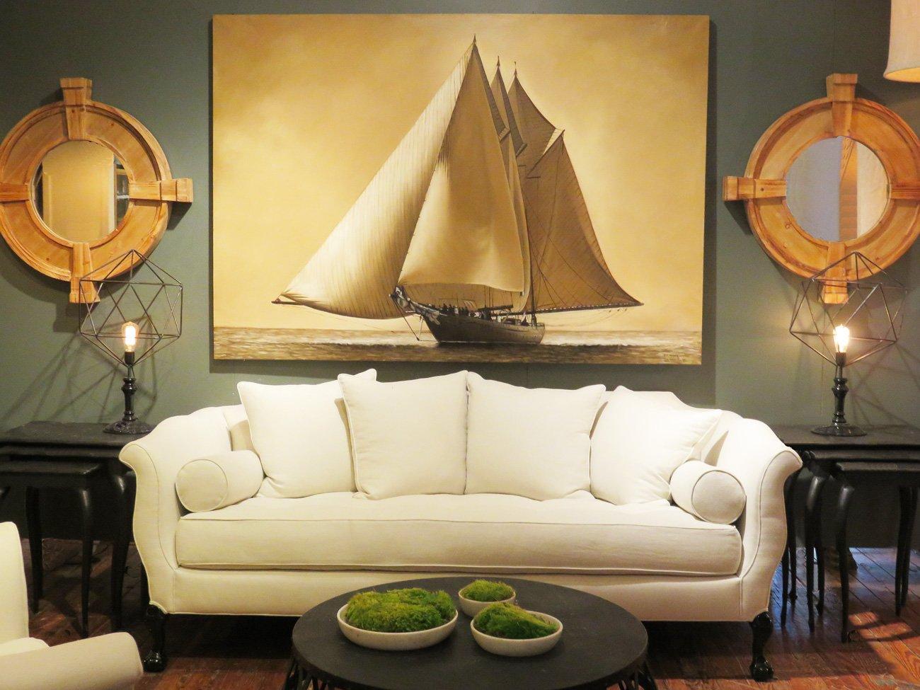 large vintage sailing painting