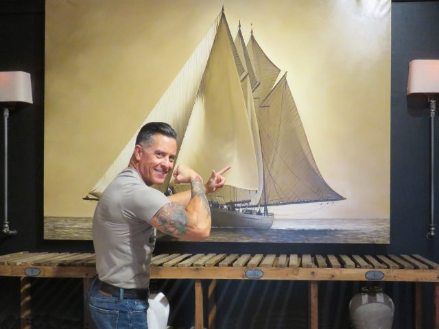 Vintage Sailboat Wall Painting