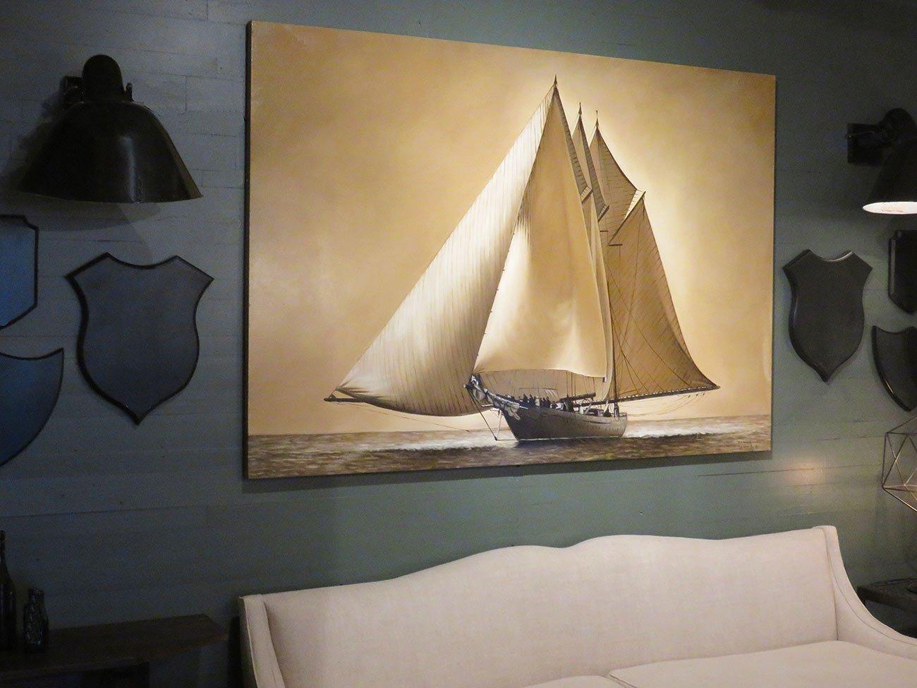 vintage sailing wall painting