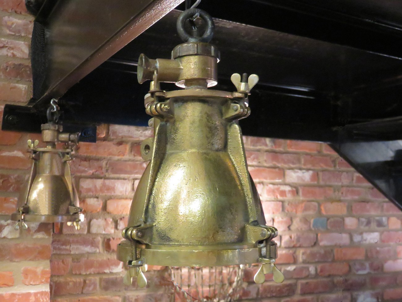 vintage industrial brass pendants