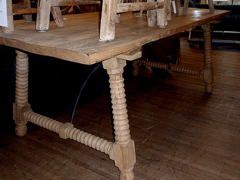 Reclaimed wood spindle table and stools hudson goods blog for Wood balusters for tables