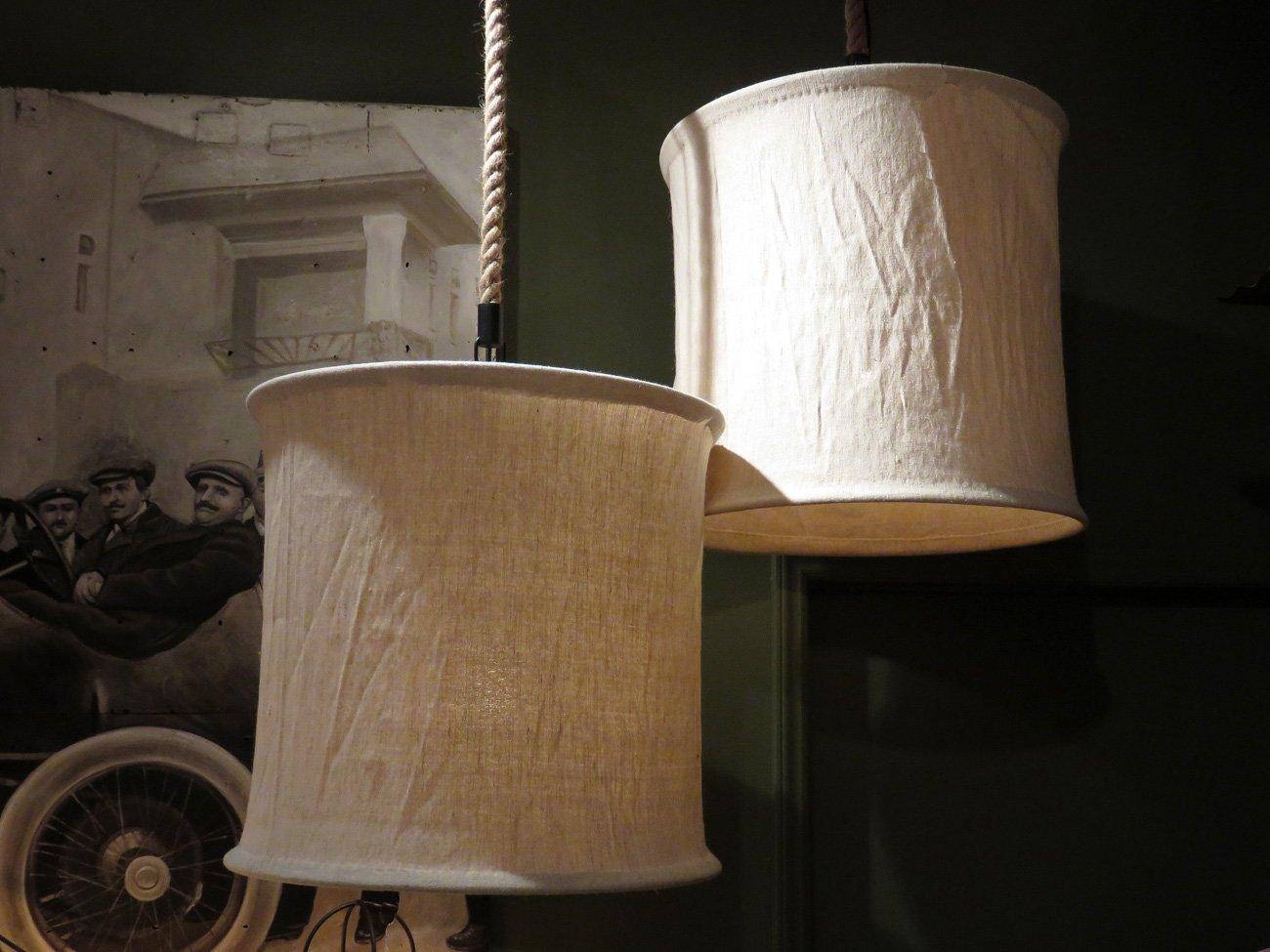 round linen canopy chandelier