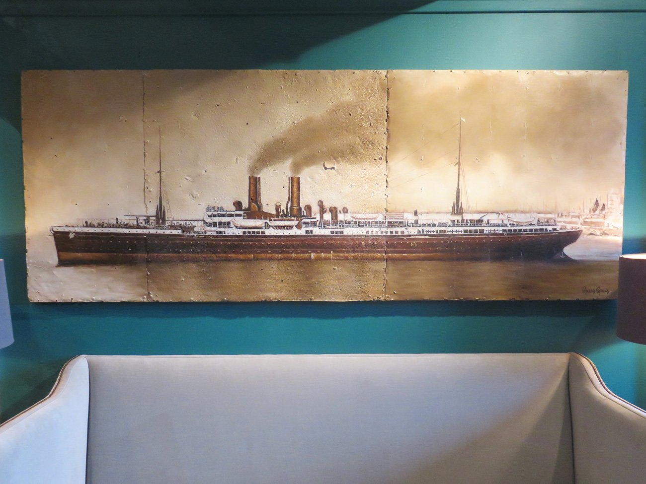 vintage steamship wall painting
