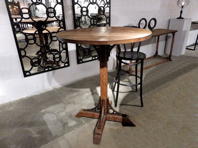 Wood and Iron Pub Table